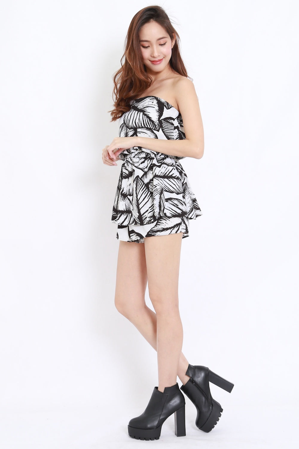 Abstract Leaves Tube Romper (White Leaves)
