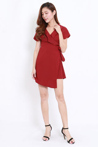 Ruffle Wrap Dress (Maroon)