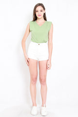 Shoulder Padded Cotton Top (Green)