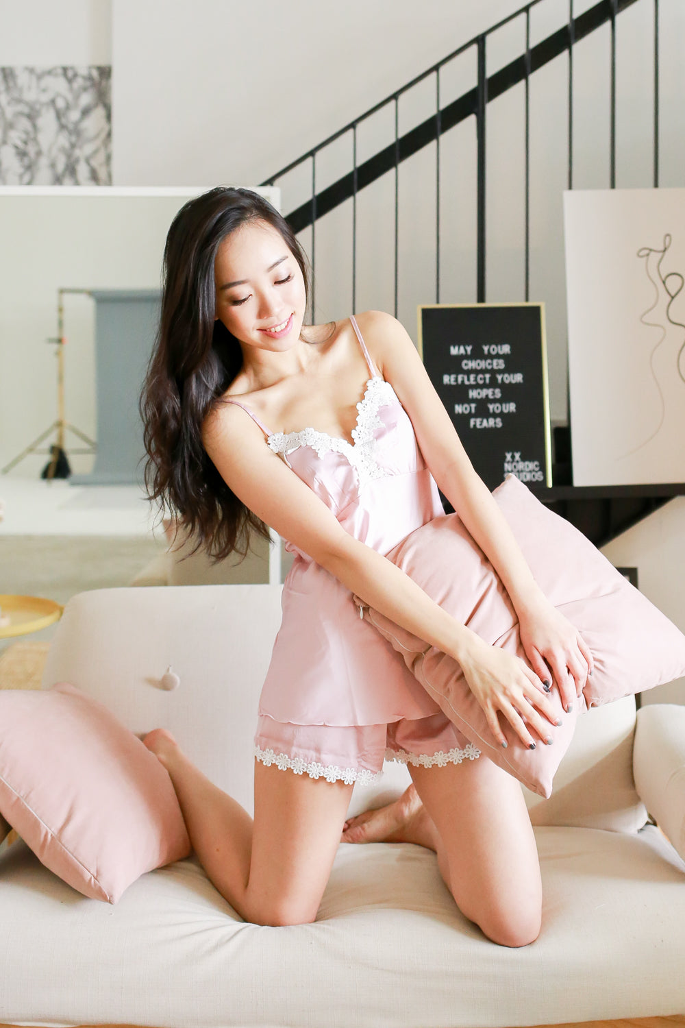 Crochet Loungewear 2pcs Set (Pink)