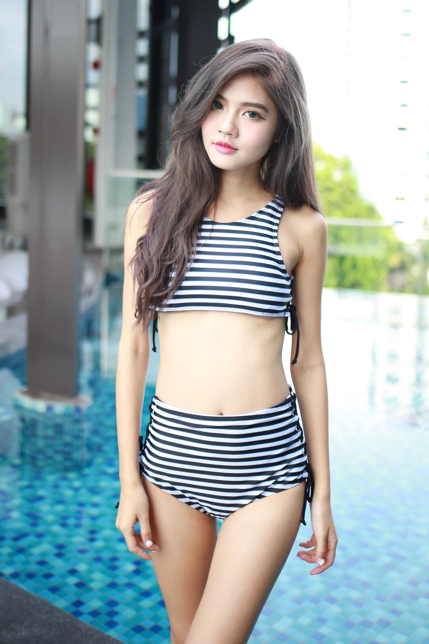Side Tie Stripes Bikini -  - 2