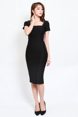 *Premium* Square Neck Sleeved Midi Dress (Black)