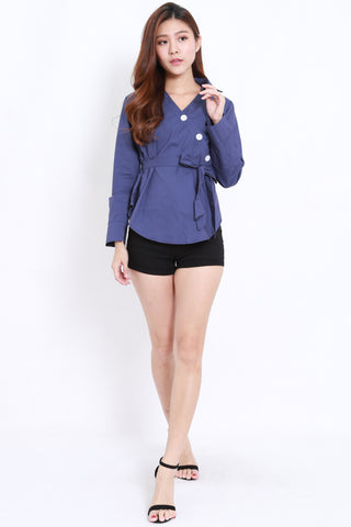 Side Buttons Shirt (Navy)