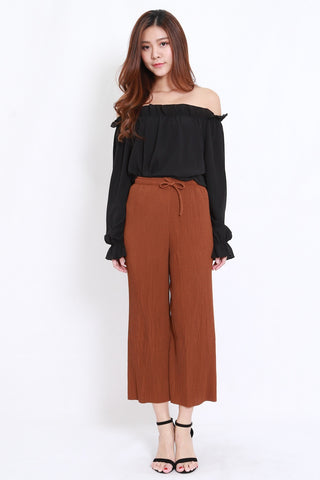 Pleated Drawstring Culottes (Brown)