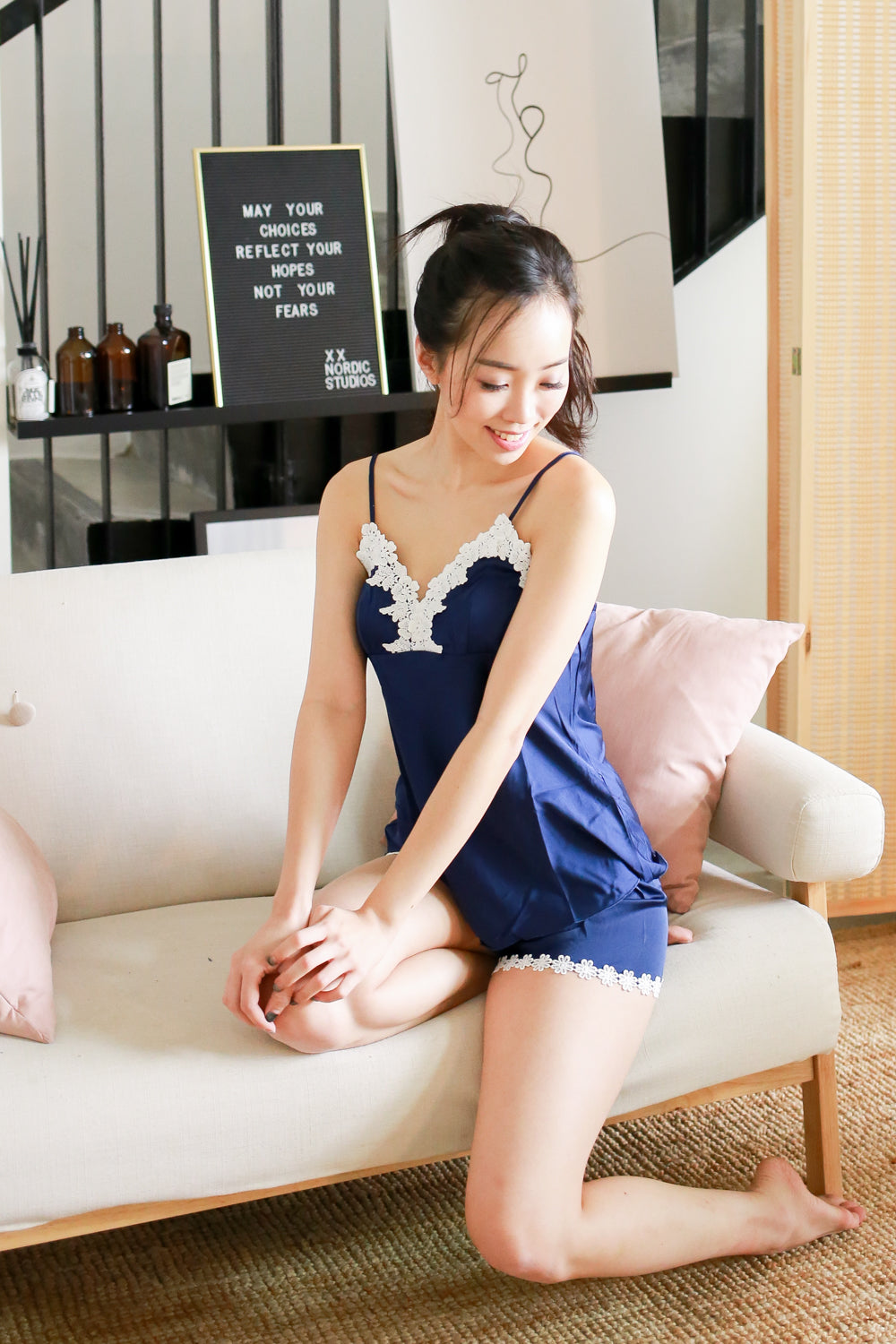 Crochet Loungewear 2pcs Set (Navy)