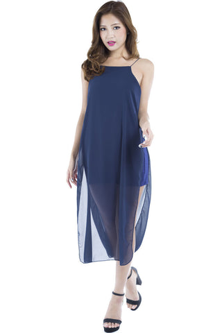 Runway Chiffon Maxi Dress (Navy) -  - 2