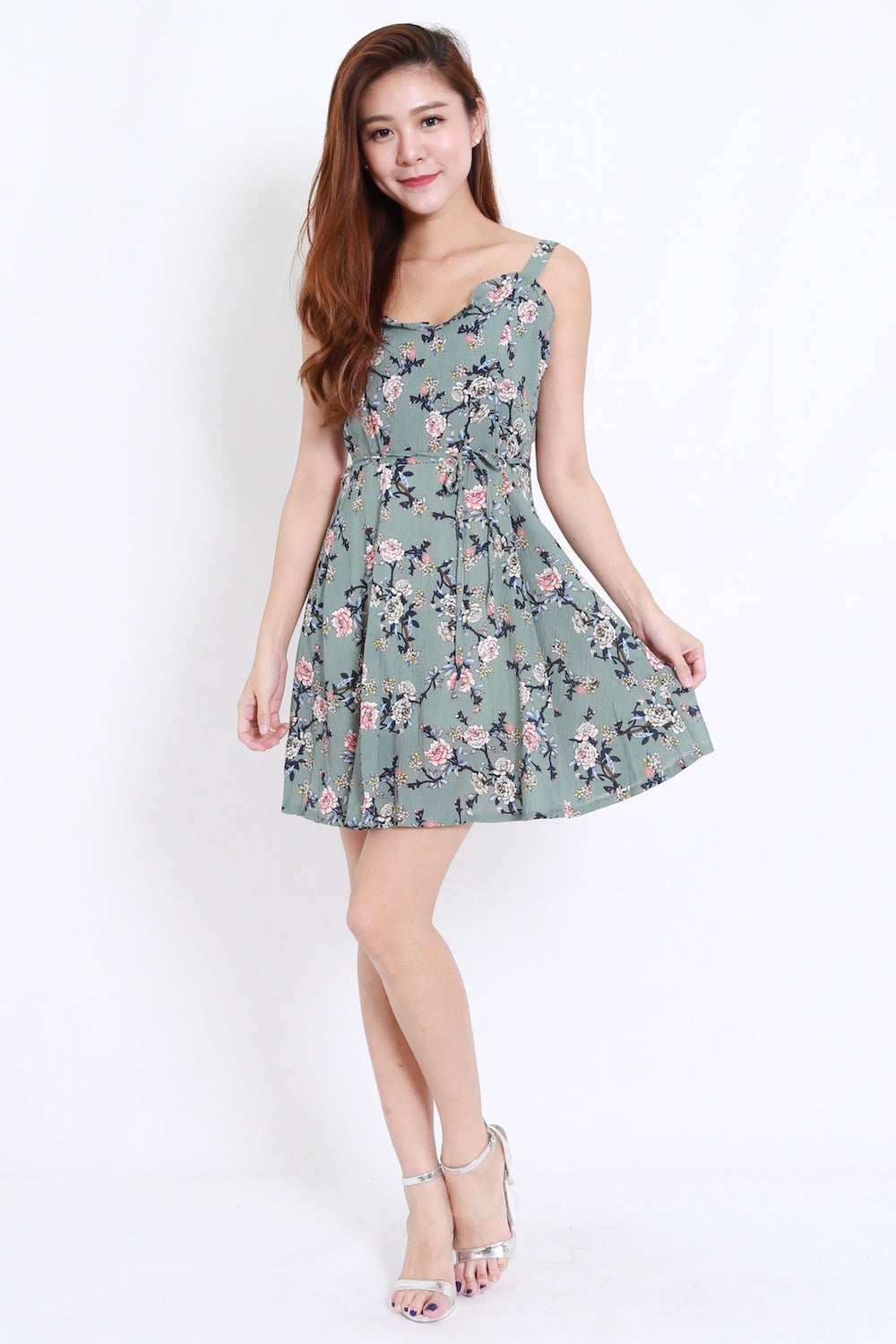 Ruffle Floral Dress (Green)