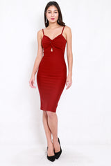 *Premium* Twist Knot Midi Dress (Maroon)