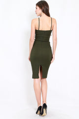 V Neck Midi Spag Dress (Olive)
