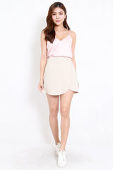 Satin V Neck Top (Light Pink)