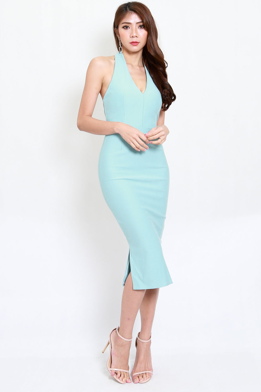 *Premium* Low Back Halter Dress (Tiffany Blue)