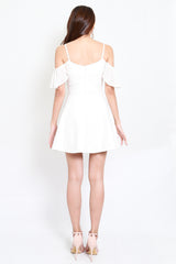 *Premium* Chiffon Sleeve Skater Dress (White)