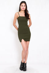 Classic Slit Mini Dress (Olive)