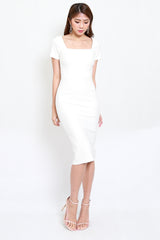 *Premium* Square Neck Sleeved Midi Dress (White)