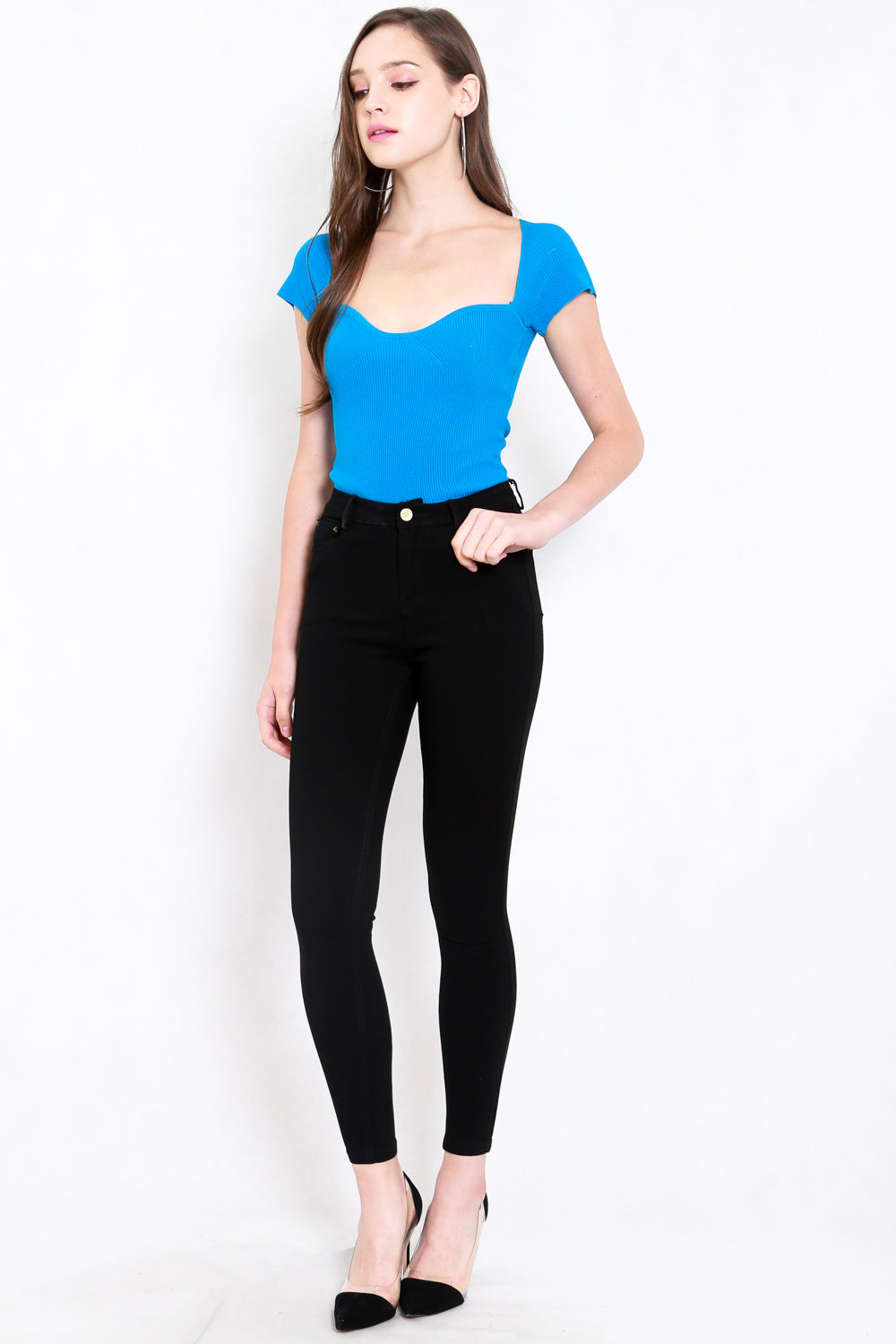 Sweetheart Cap Sleeve Top (Sky Blue)
