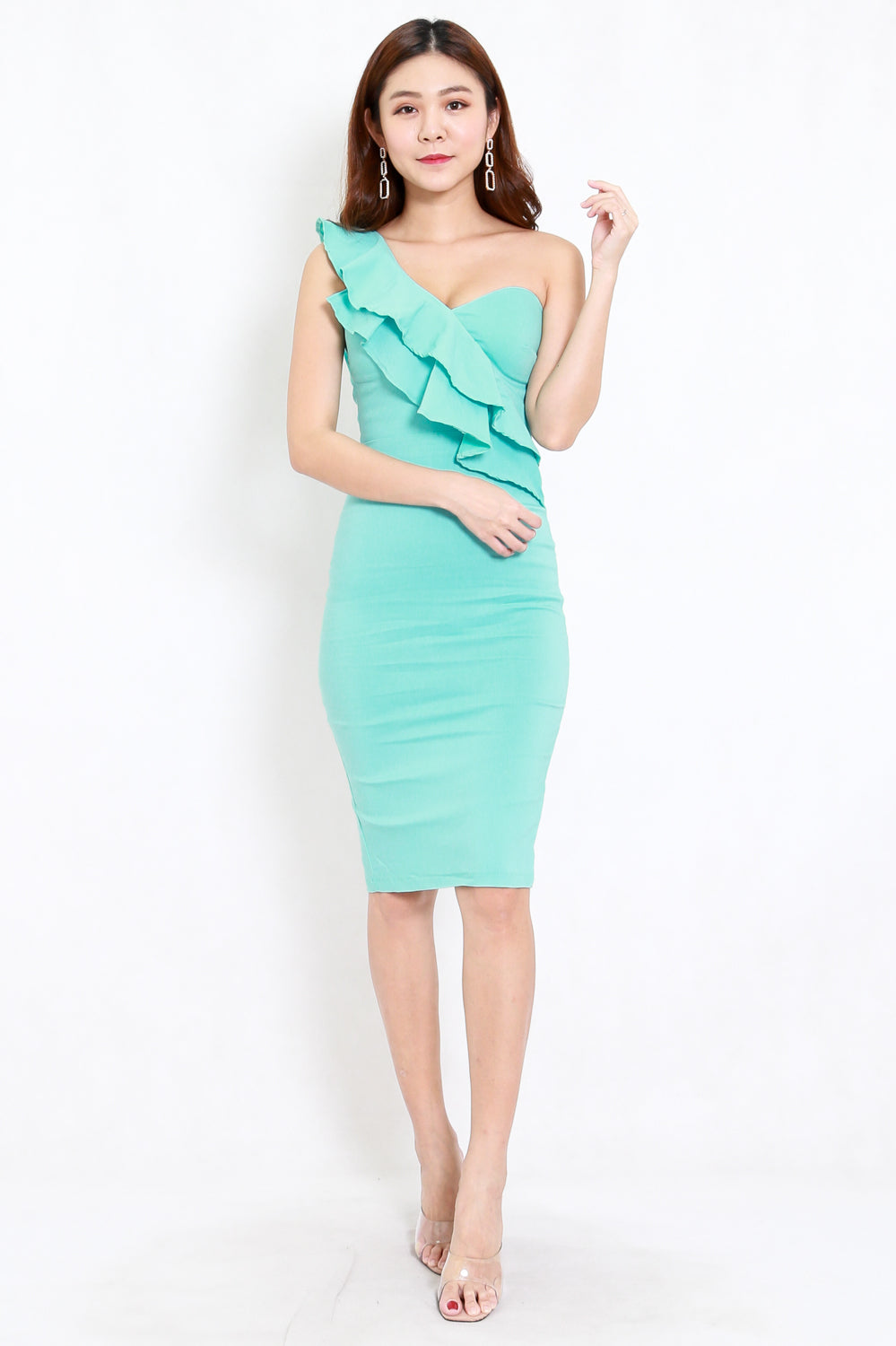 Ruffle Toga Midi Dress (Turquoise)