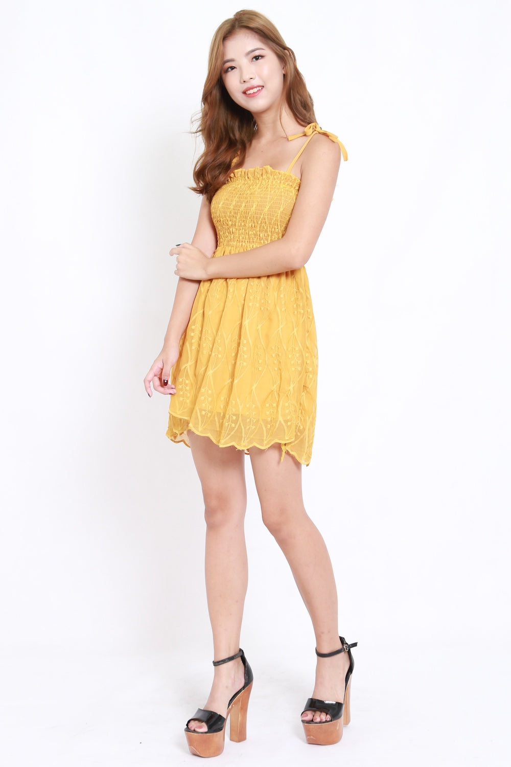 Embroidered Smocked Tie Dress (Yellow)