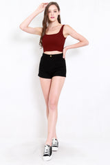 Fitted Denim Shorts (Black)