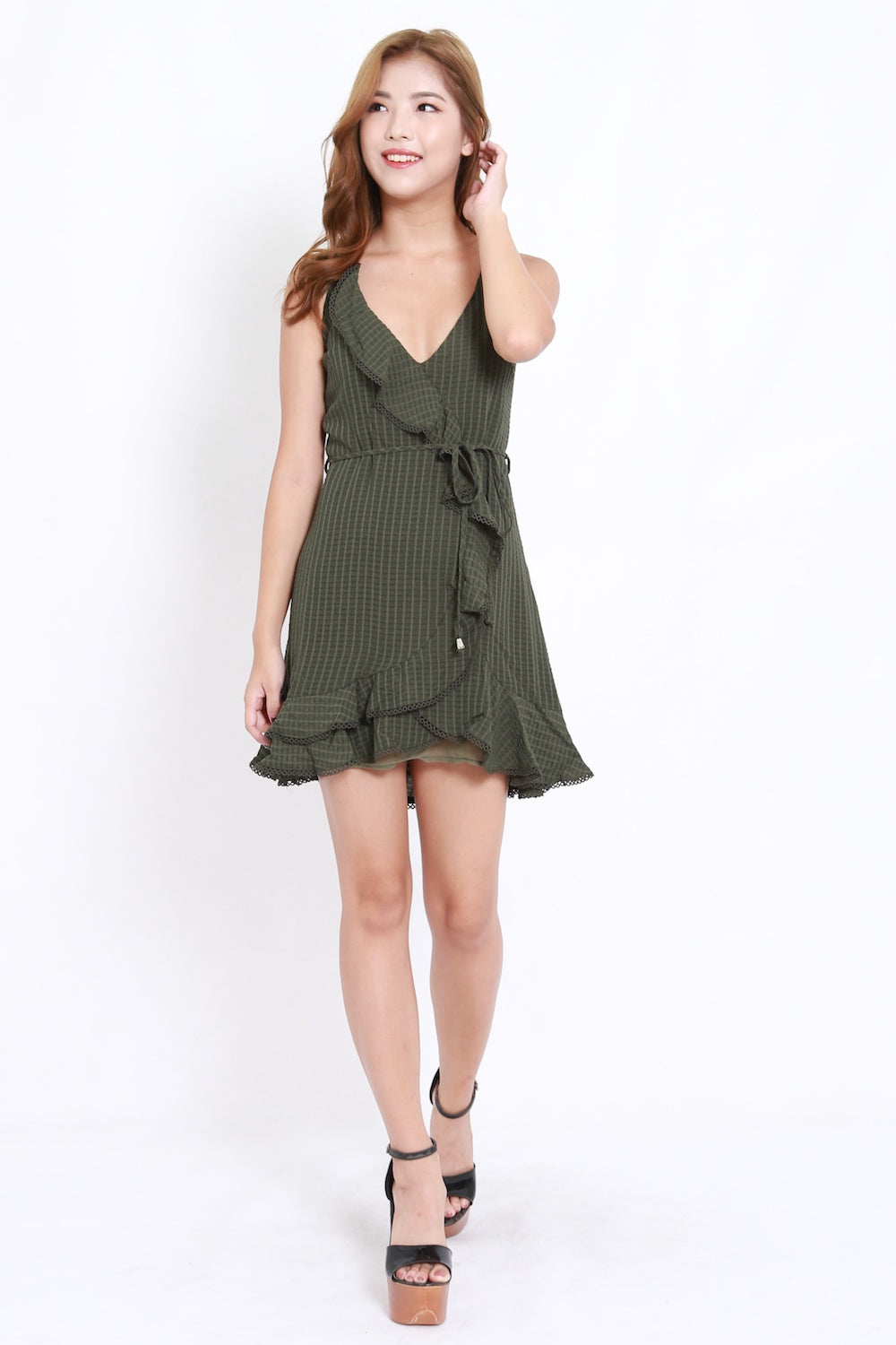 Textured Ruffle Dress (Olive)