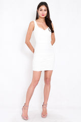 *Premium* Crossover Ruch Bandage Dress (White)