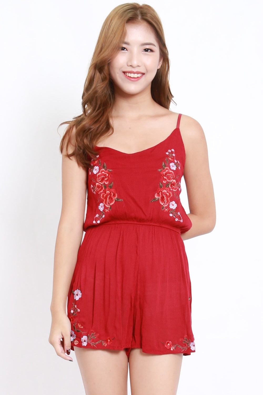 Embroidered Spag Romper (Red)