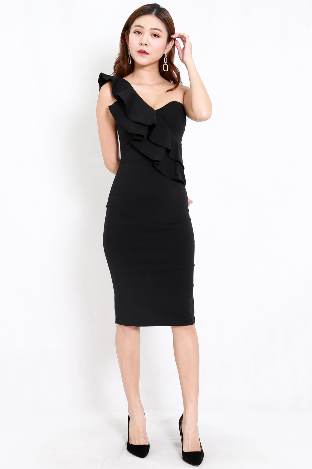 Ruffle Toga Midi Dress (Black)