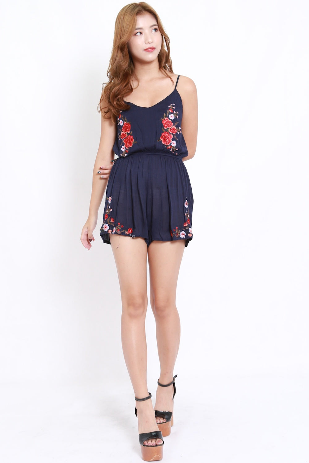 Embroidered Spag Romper (Navy)