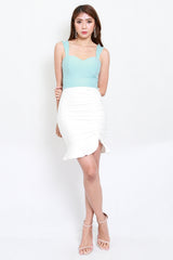 *Premium* Drawstring Scrunch Skirt (White)