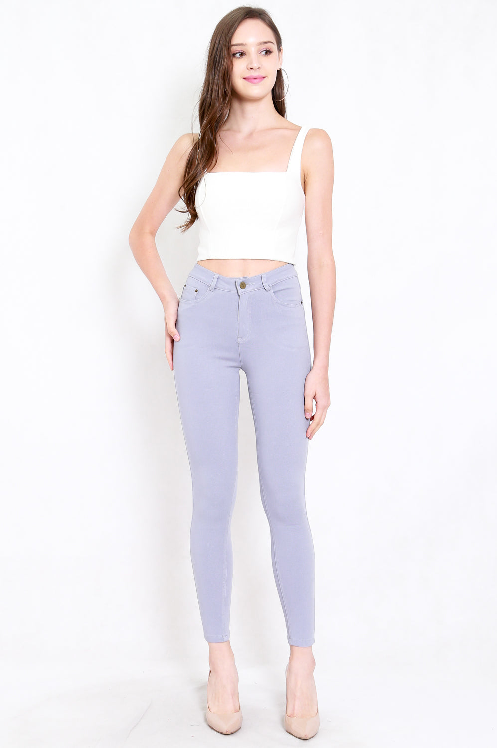 Skinny High Waist Jeans (Grey)