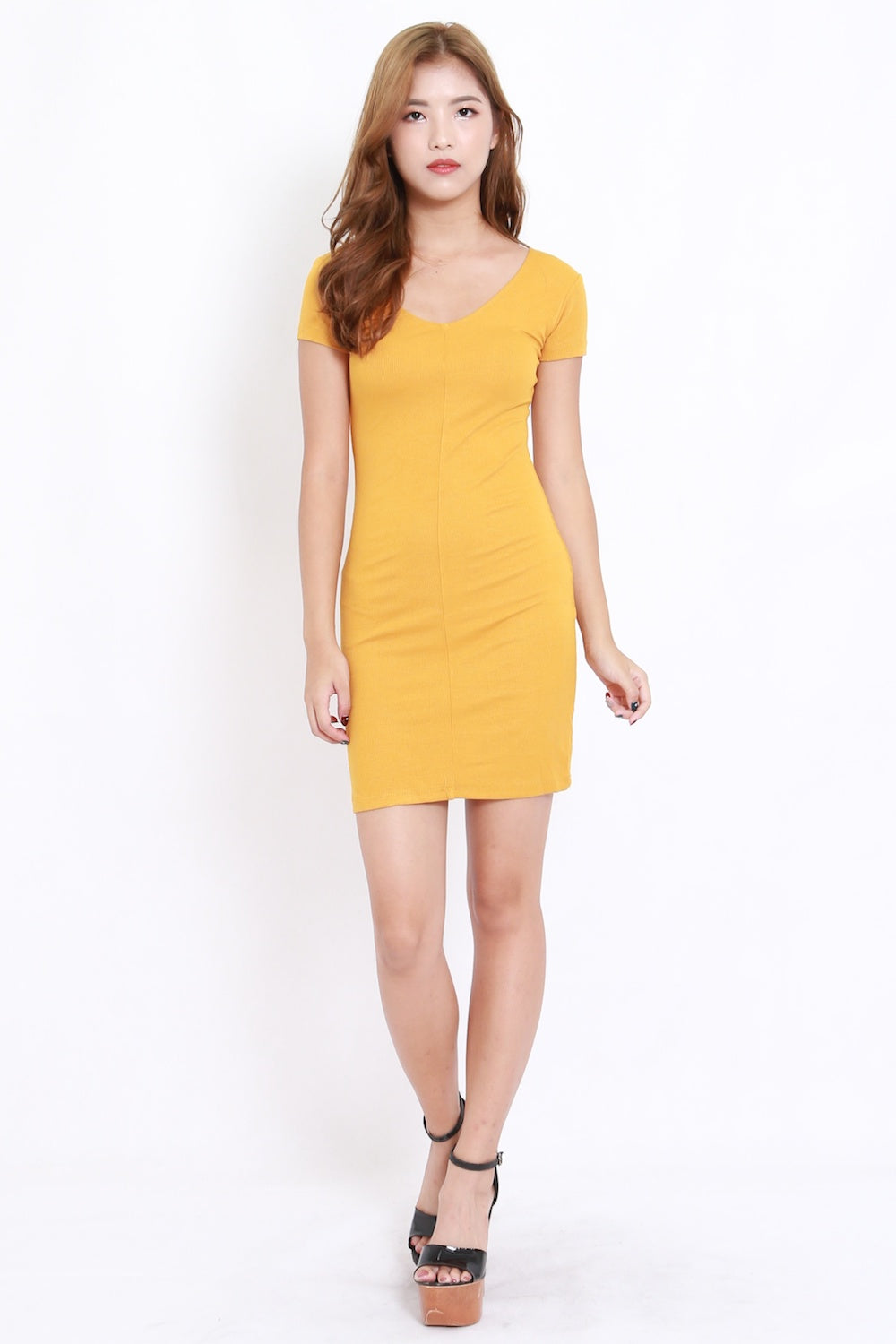 V Neck Ribbed Dress (Mustard)