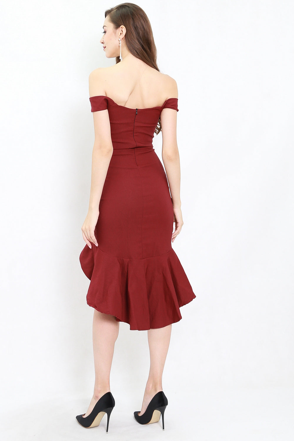 Ruffle Slit Off Shoulder Midi Dress (Maroon)