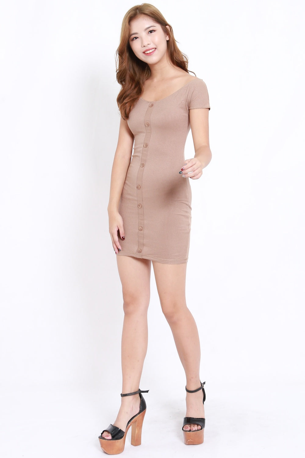 Buttons Boat Neck Ribbed Dress (Taupe)