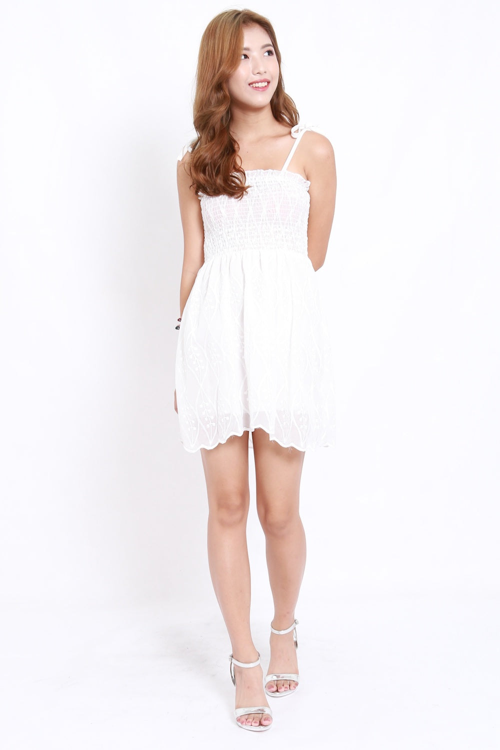 Embroidered Smocked Tie Dress (White)