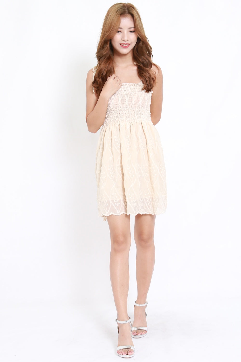 Embroidered Smocked Tie Dress (Cream)