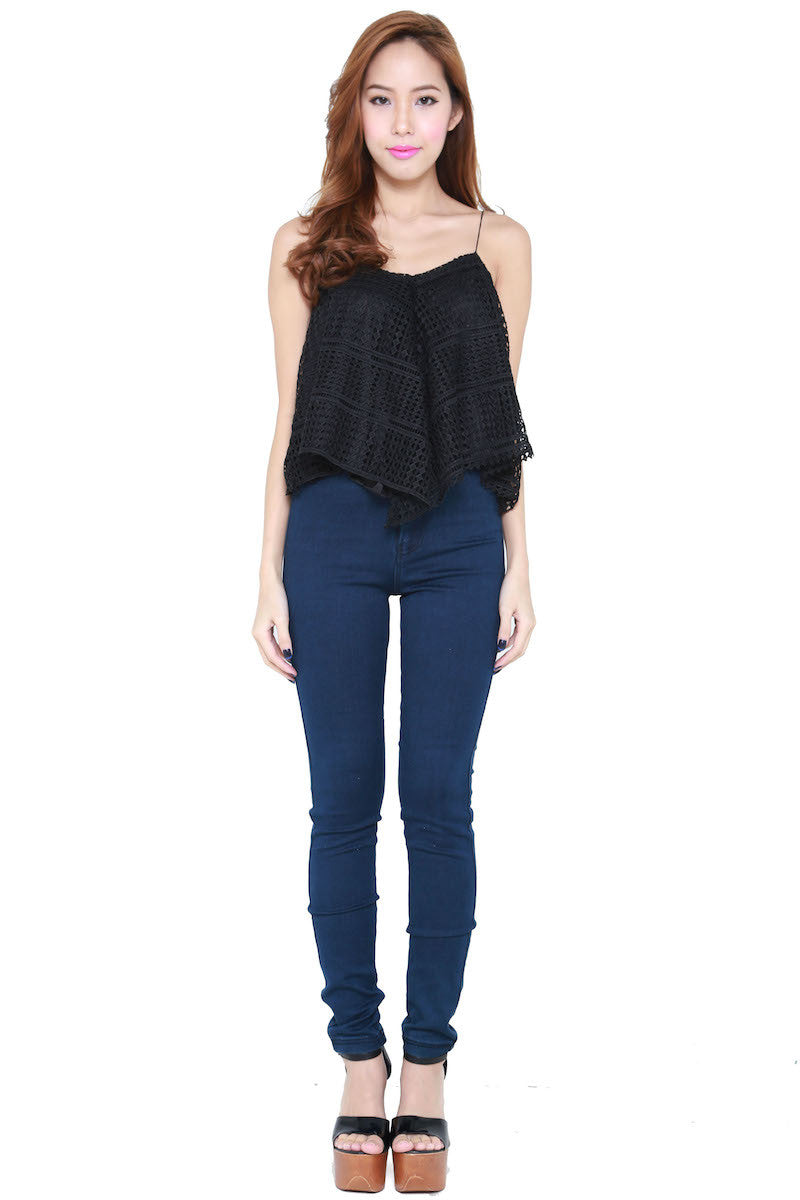 Net Flutter Top (Black) -  - 2