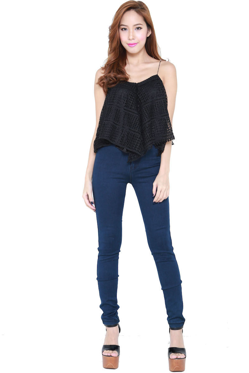 Net Flutter Top (Black) -  - 3