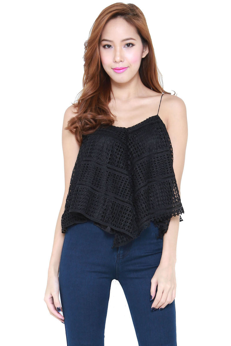 Net Flutter Top (Black) -  - 1