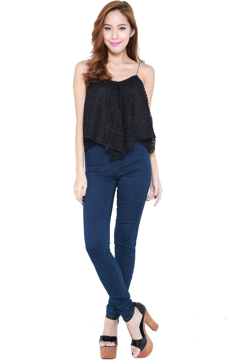 Net Flutter Top (Black) -  - 4