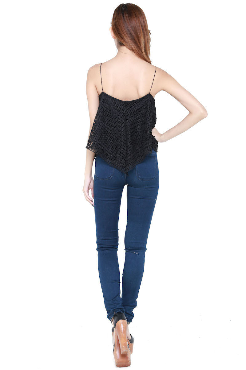Net Flutter Top (Black) -  - 6
