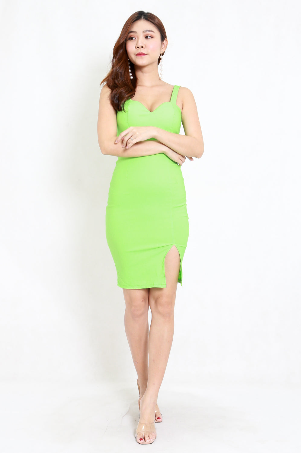 Sweetheart Low Back Midi Dress (Lime)