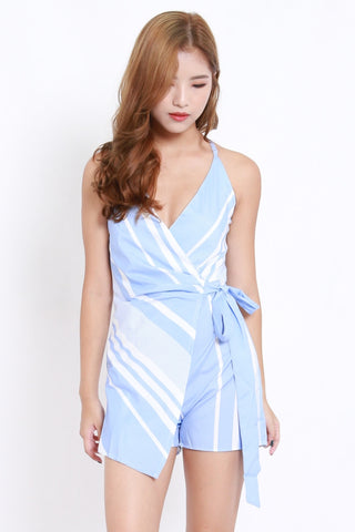 Blue Stripes Overlap Romper