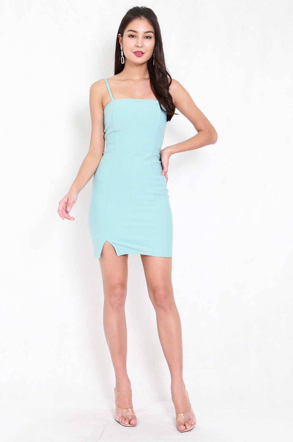 *Premium* Classic Slit Mini Dress (Baby Blue)