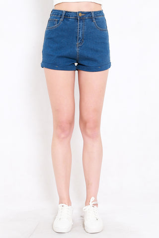 Fitted Denim Shorts (Dark Denim)