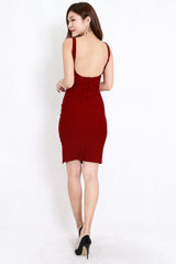 *Premium* Sweetheart Low Back Slit Midi Dress (Maroon)