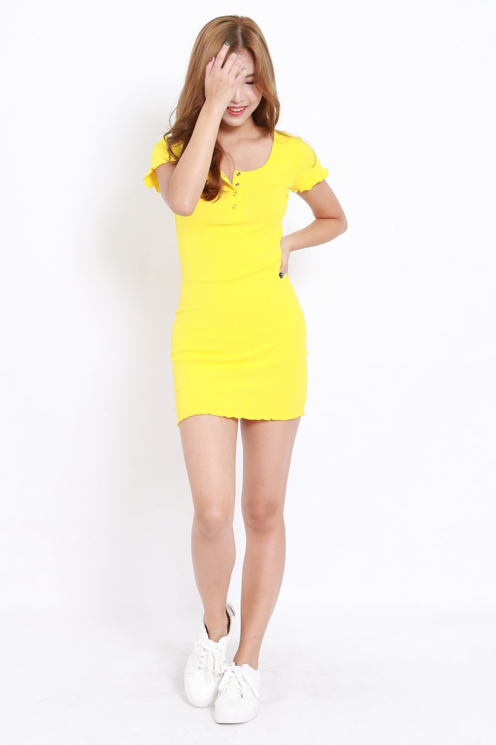 Buttons Ruffle Edge Tee Dress (Yellow)