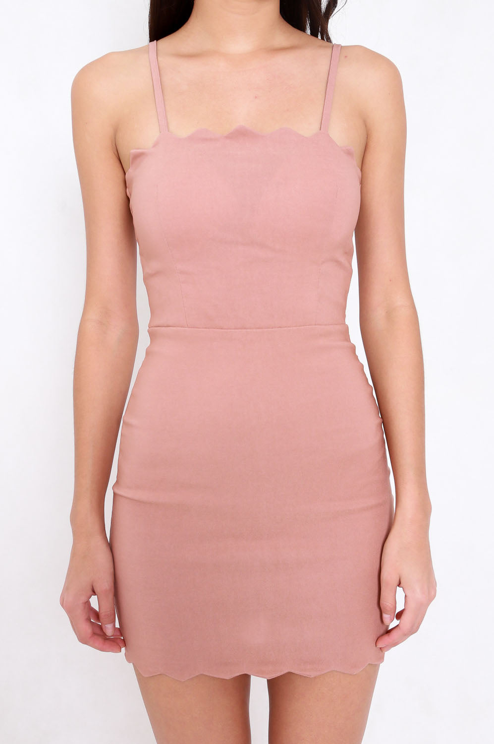 Scallop Spag Dress (Tan-Nude)