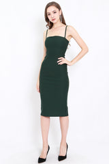 *Premium* Classic Midi Spag Dress (Forest Green)
