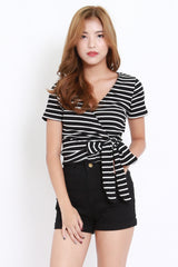 Ribbed Wrap Top (Stripes)
