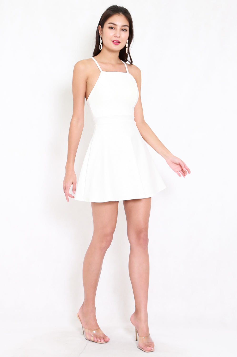 *Premium* Cross Back Halter Skater Dress (White)