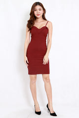 *Premium* Scoop Neck Slit Spag Dress (Skin-Nude)